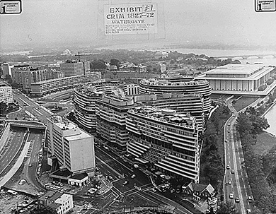 A photograph shows an aerial view of the Watergate hotel and office complex.