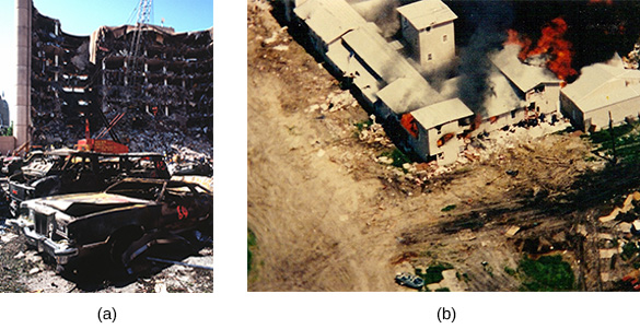 Photograph (a) shows the bombed federal building in Oklahoma City. Photograph (b) shows the siege of the Waco compound; flames shoot from the top of the Mount Carmel center.