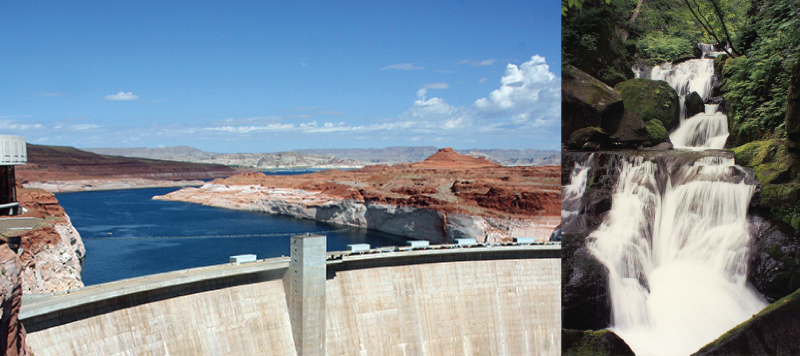 The photo on the left shows water behind a dam. The photo on the right shows a waterfall.